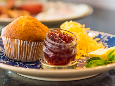 muffins, jam and cheese at Retreat on Main Bed and Breakfast